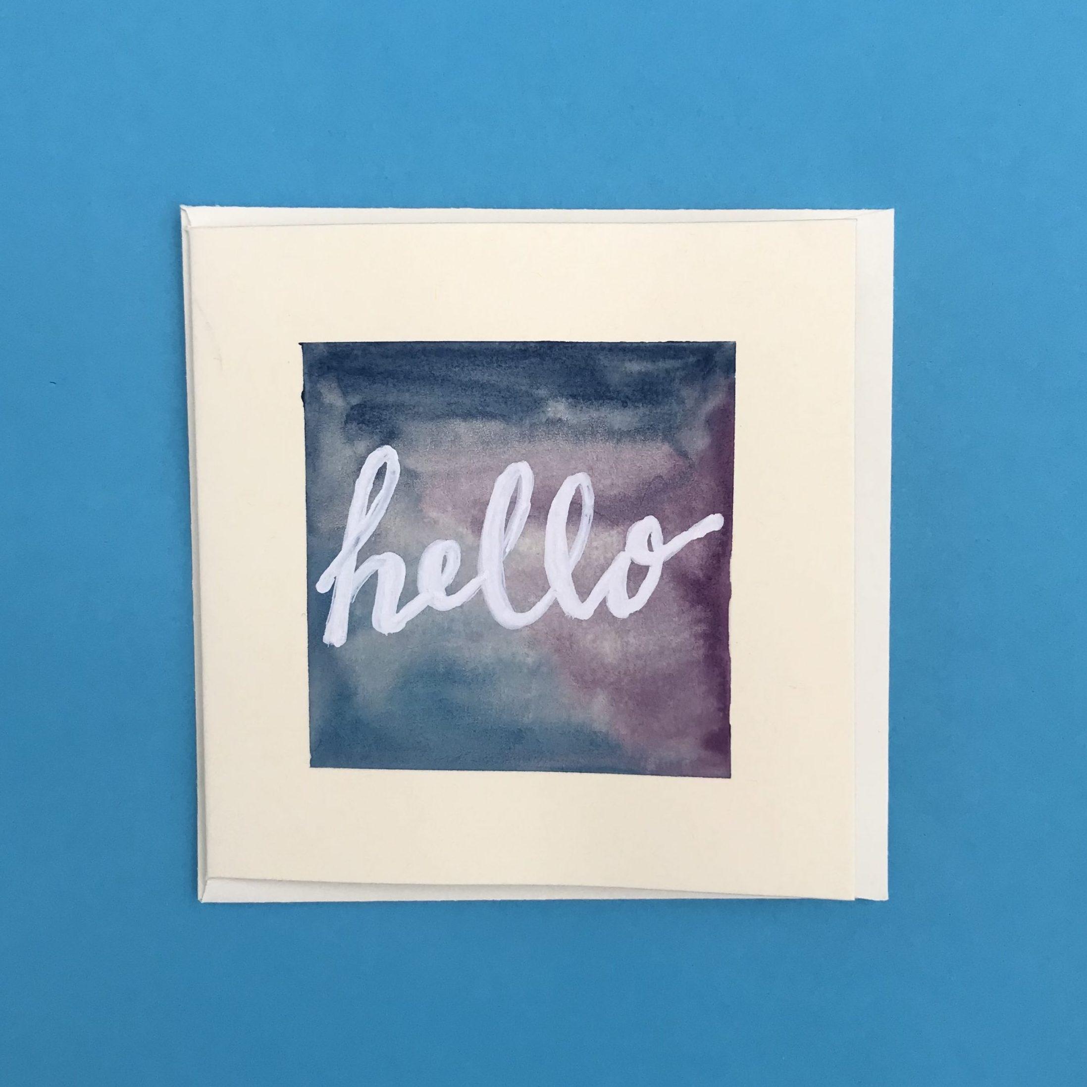 Hello Watercolour Card