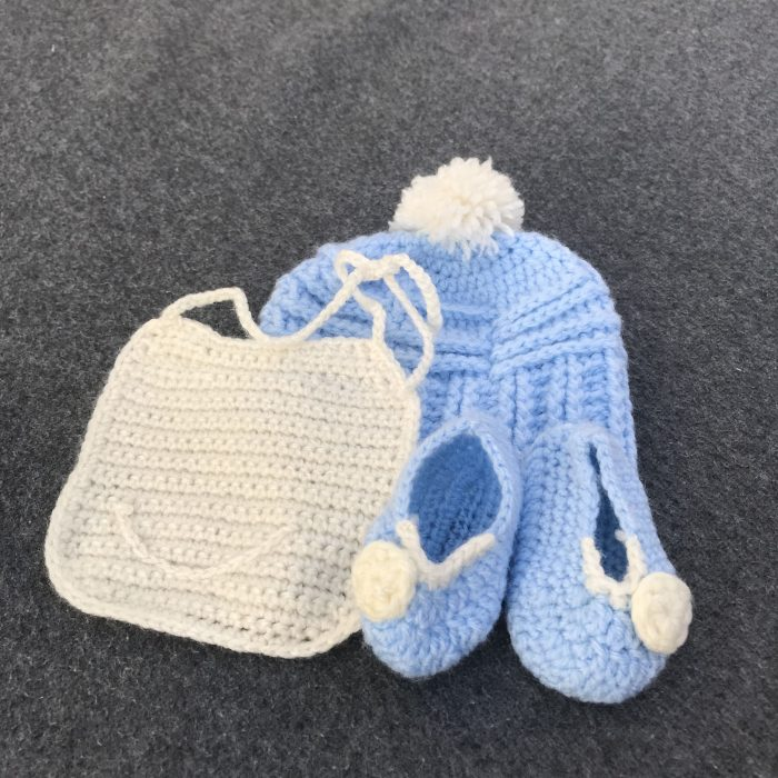 Baby bib, hat and booties