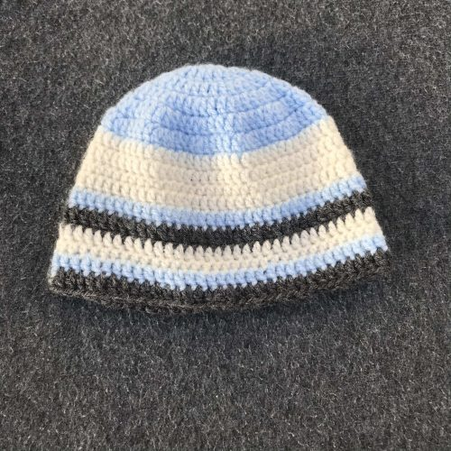 Crocheted baby hat in stripes