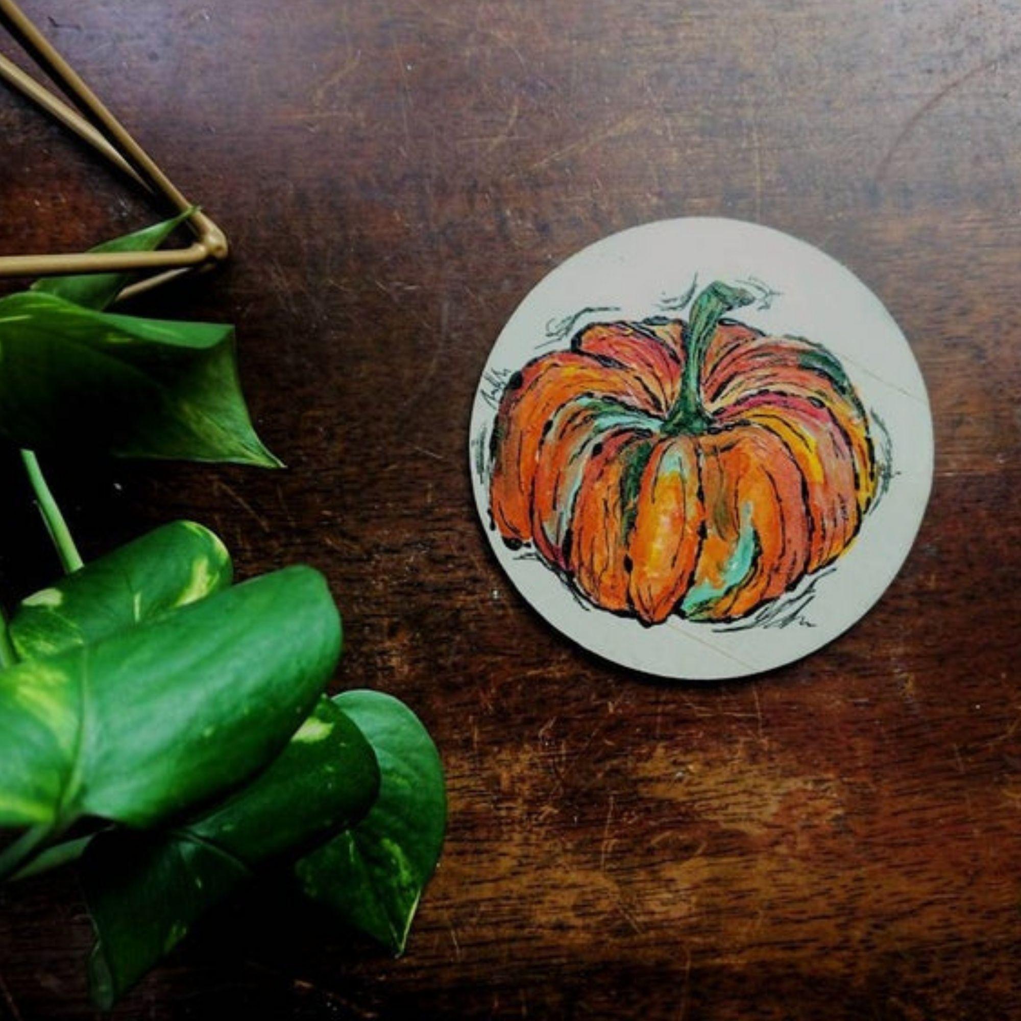 Seasonal Colours Coasters - pumpkin
