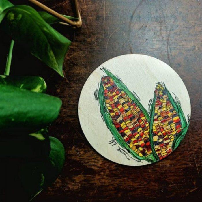 Seasonal Colours Coasters - corn on the cob