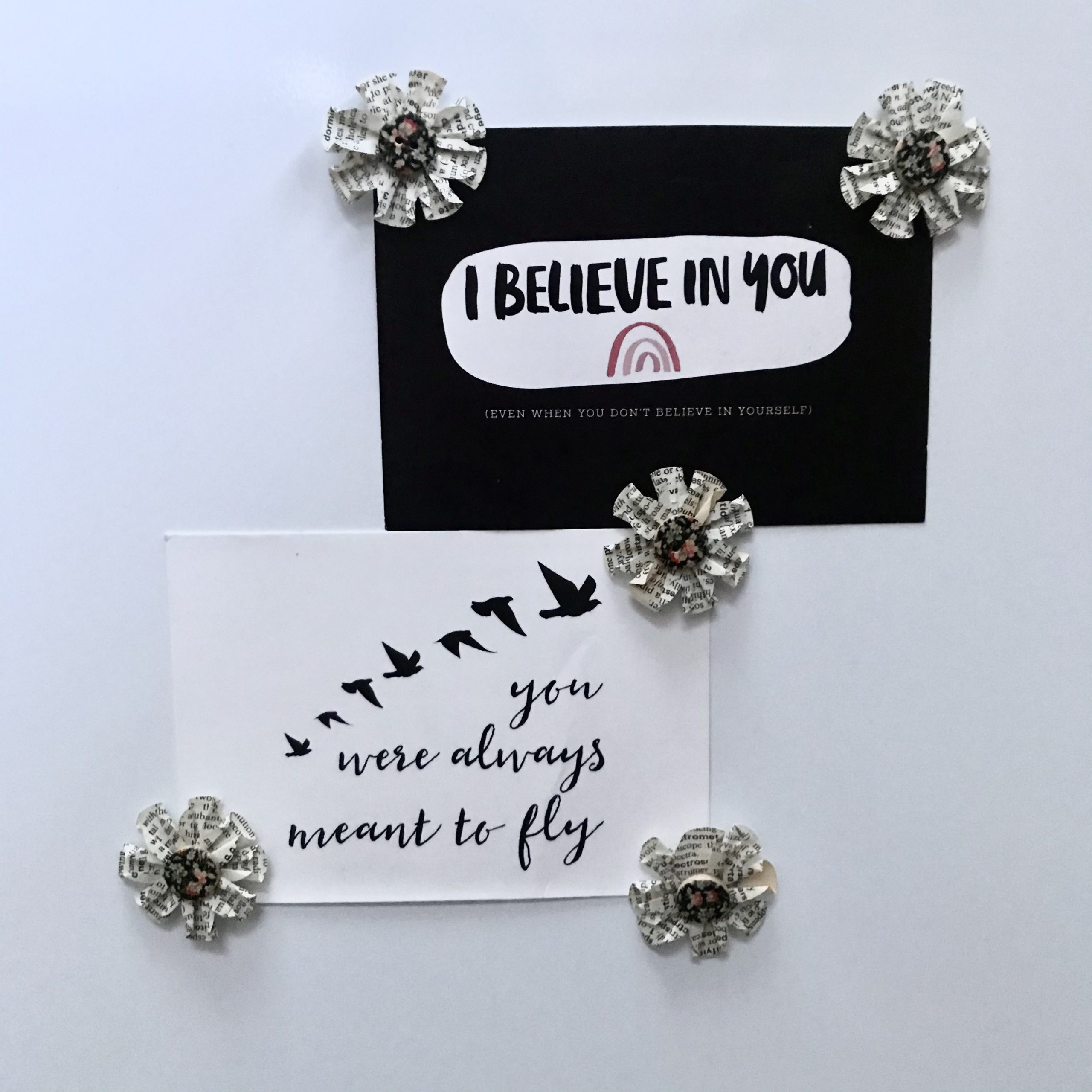 Upcycled paper and button magnets